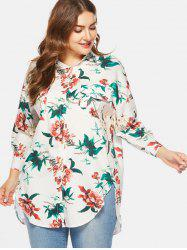 Floral Print Plus Size Front Pockets Shirt -