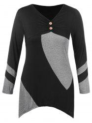 Plus Size Two Tone Asymmetrical T-shirt -