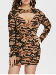 Plus Size Cut Out Camo Print Dress -