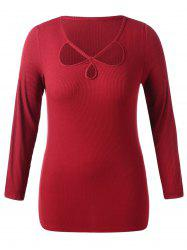 Plus Size Cut Out Ribbed Long Sleeve Top -