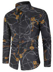 Key and Chain Print Button Up Shirt -