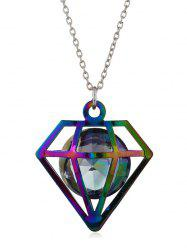 Rhinestone Hollow Geometric Shape Pendant Chain Necklace -