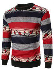 Striped and Lightning Print Sweatshirt -