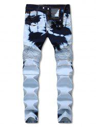 Hidden Zipper Decorated Stretchy Biker Jeans -