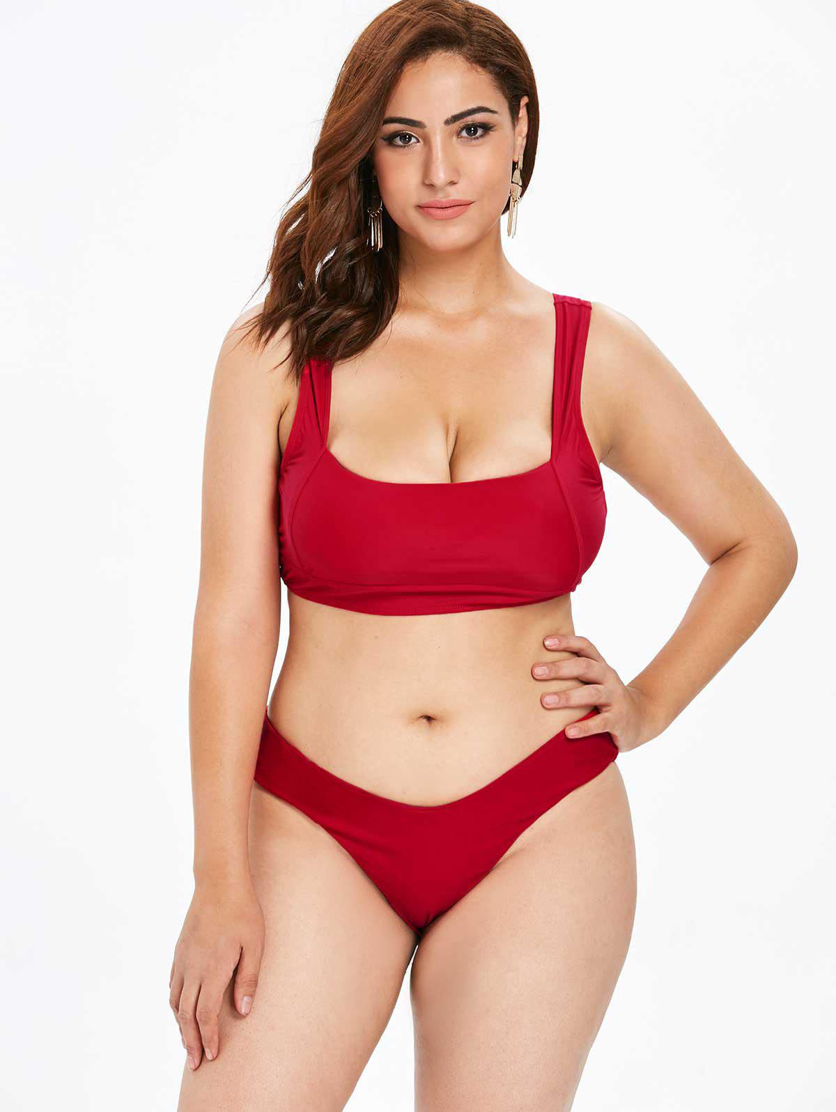 Online Plus Size High Cut Square Neck Bikini Set