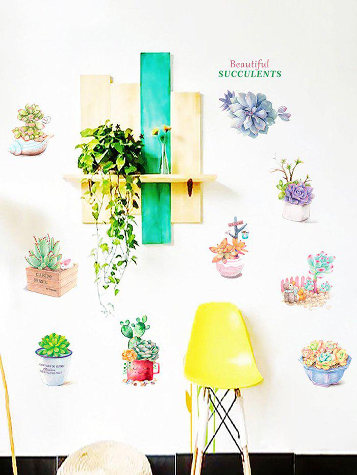 Trendy Fresh Succulent Plant Pot Print Decorative Wall Stickers
