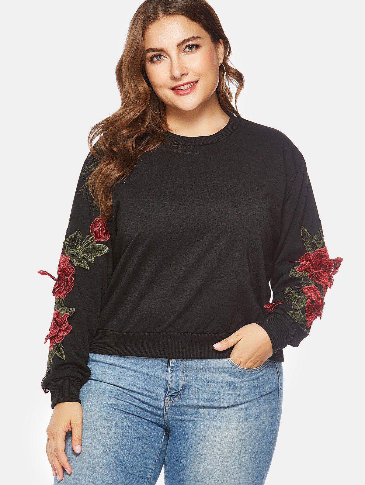 Affordable Applique Long Sleeve Plus Size Sweatshirt
