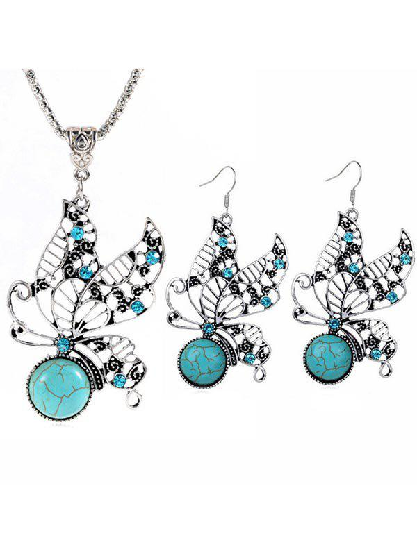 Unique Bohemian Butterfly Faux Turquoise Jewelry Set