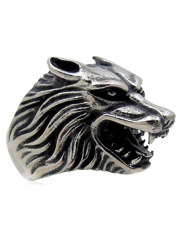 Fancy Stylish Carving Wolf Biker Ring