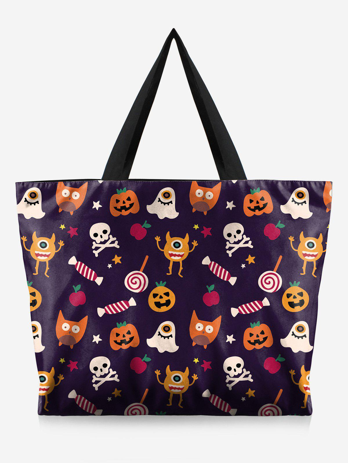 Outfit Halloween Skull and Pumpkin Print Handbag