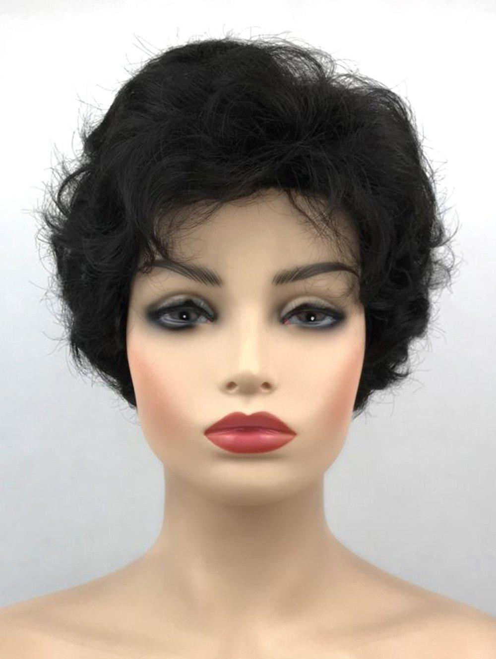 Chic Short Side Bang Fluffy Slightly Curly Synthetic Wig