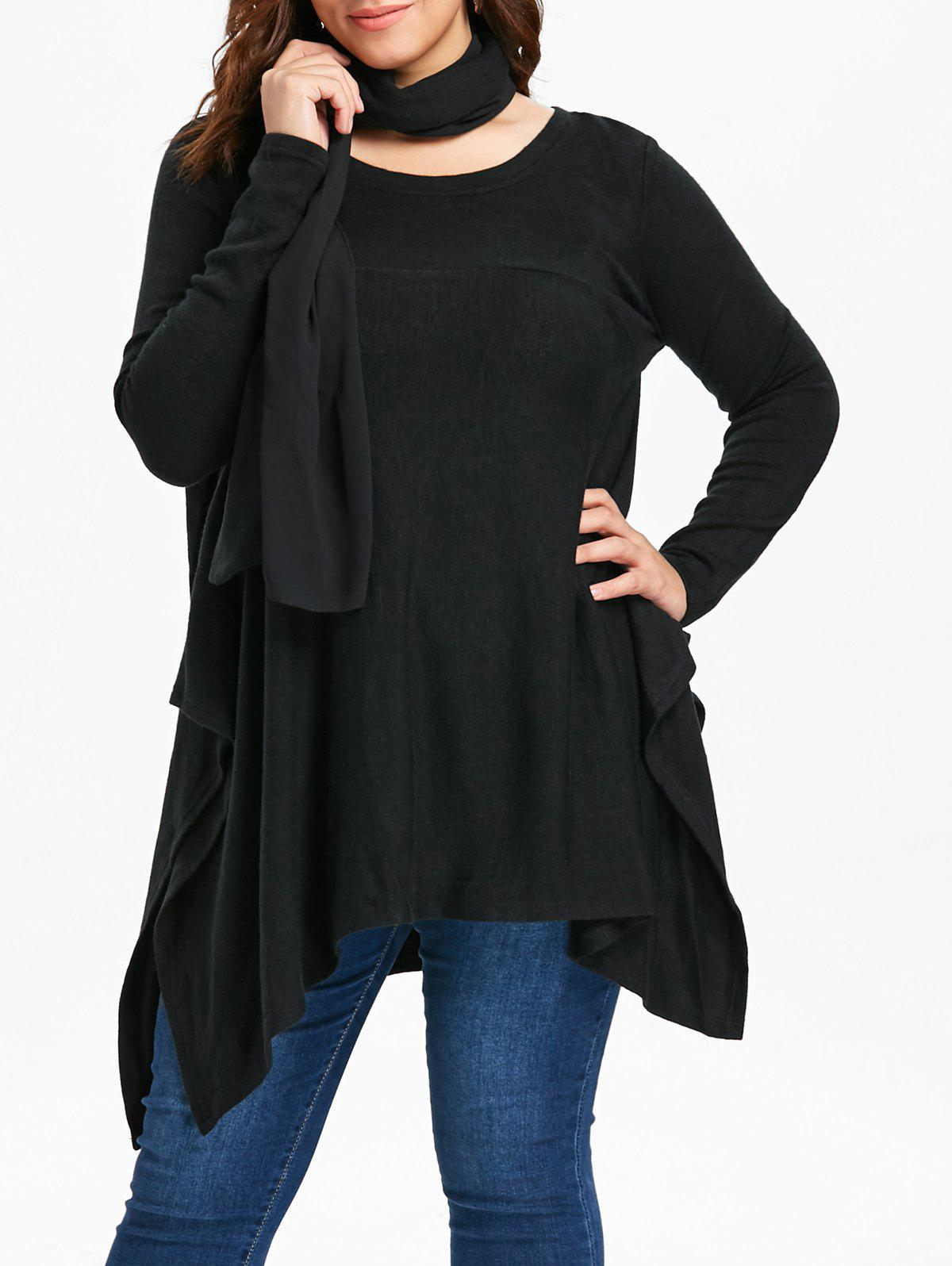 Sale Round Neck Plus Size Asymmetrical Sweater with Scarf