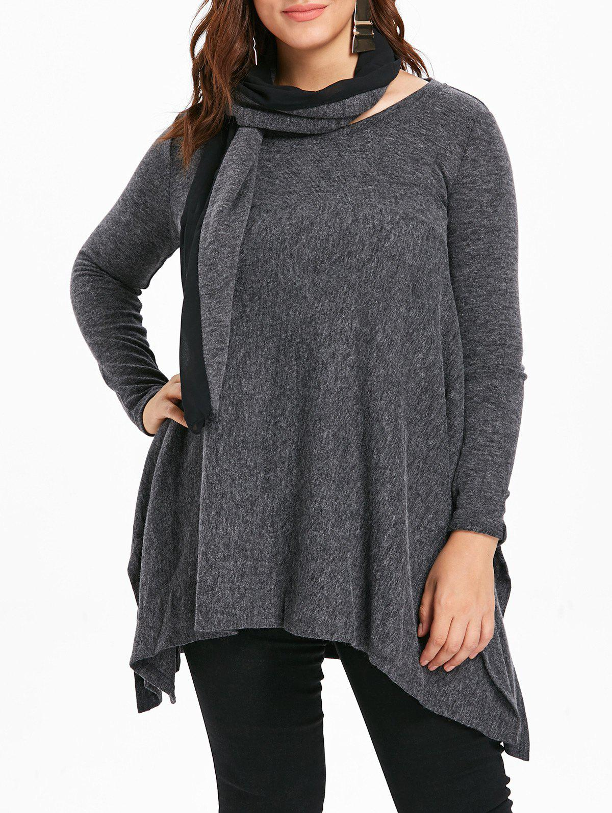 New Round Neck Plus Size Asymmetrical Sweater with Scarf