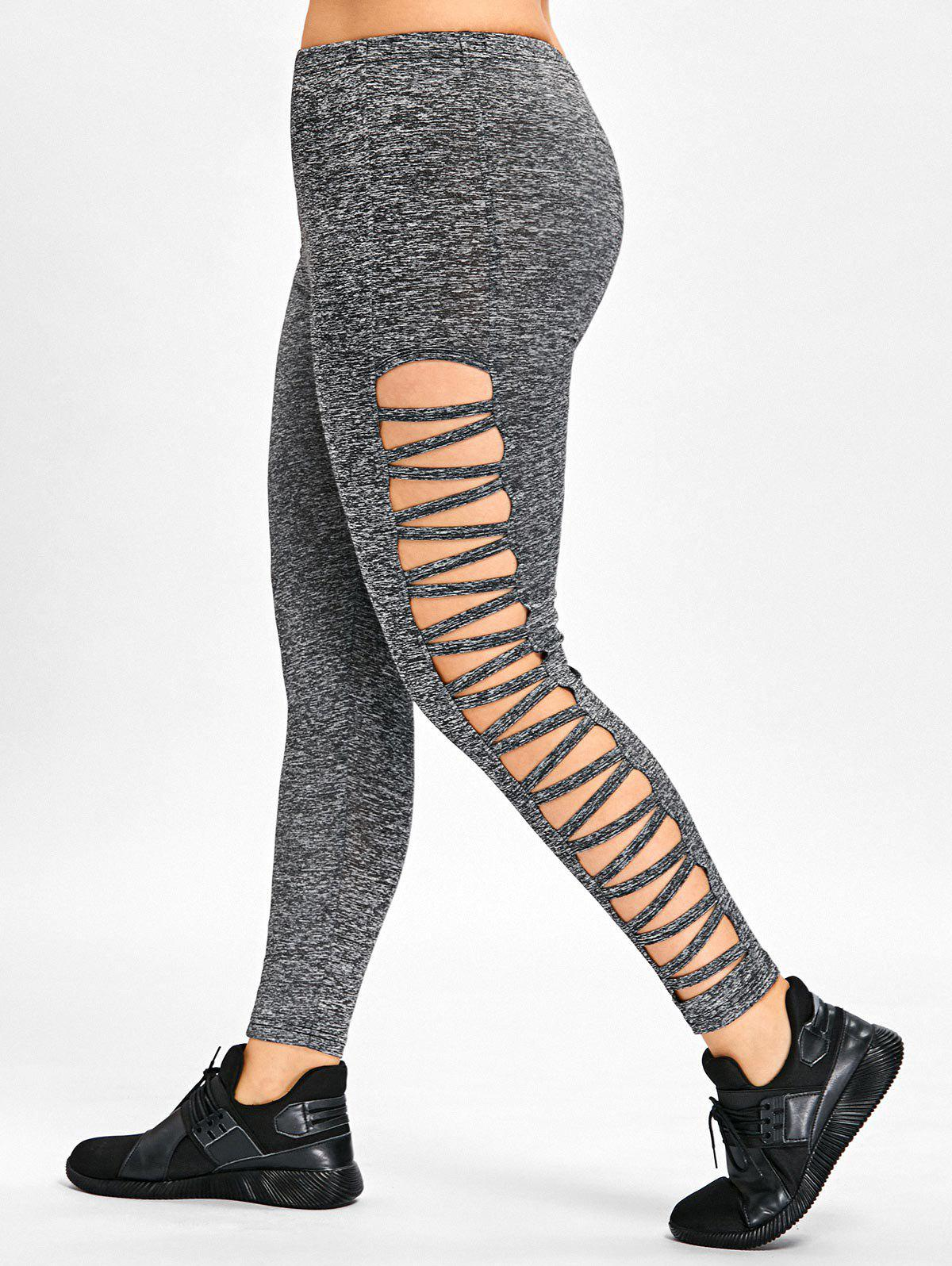 Cheap Side Ladder Cut Out Plus Size Leggings