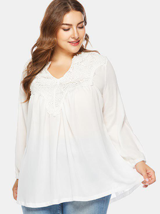 Chic V Neck Plus Size Applique Blouse
