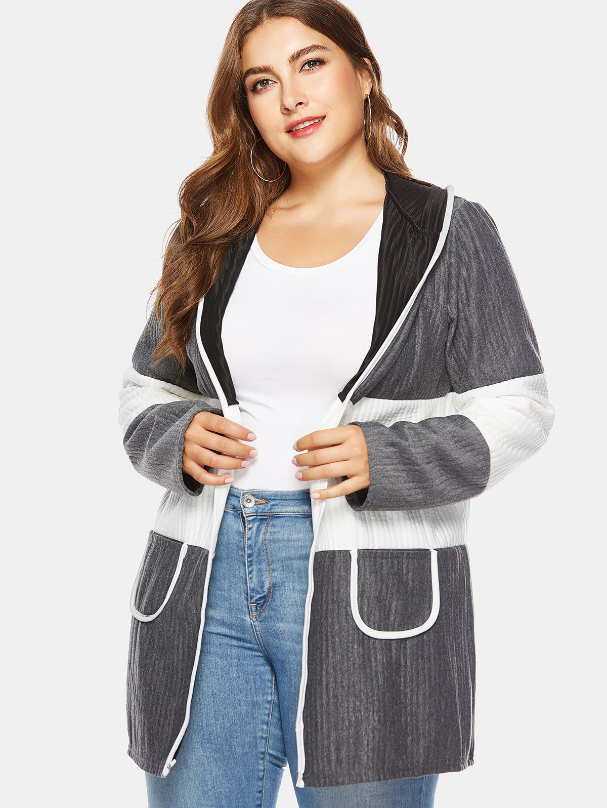 Hot Color Block Plus Size Ribbed Hooded Coat