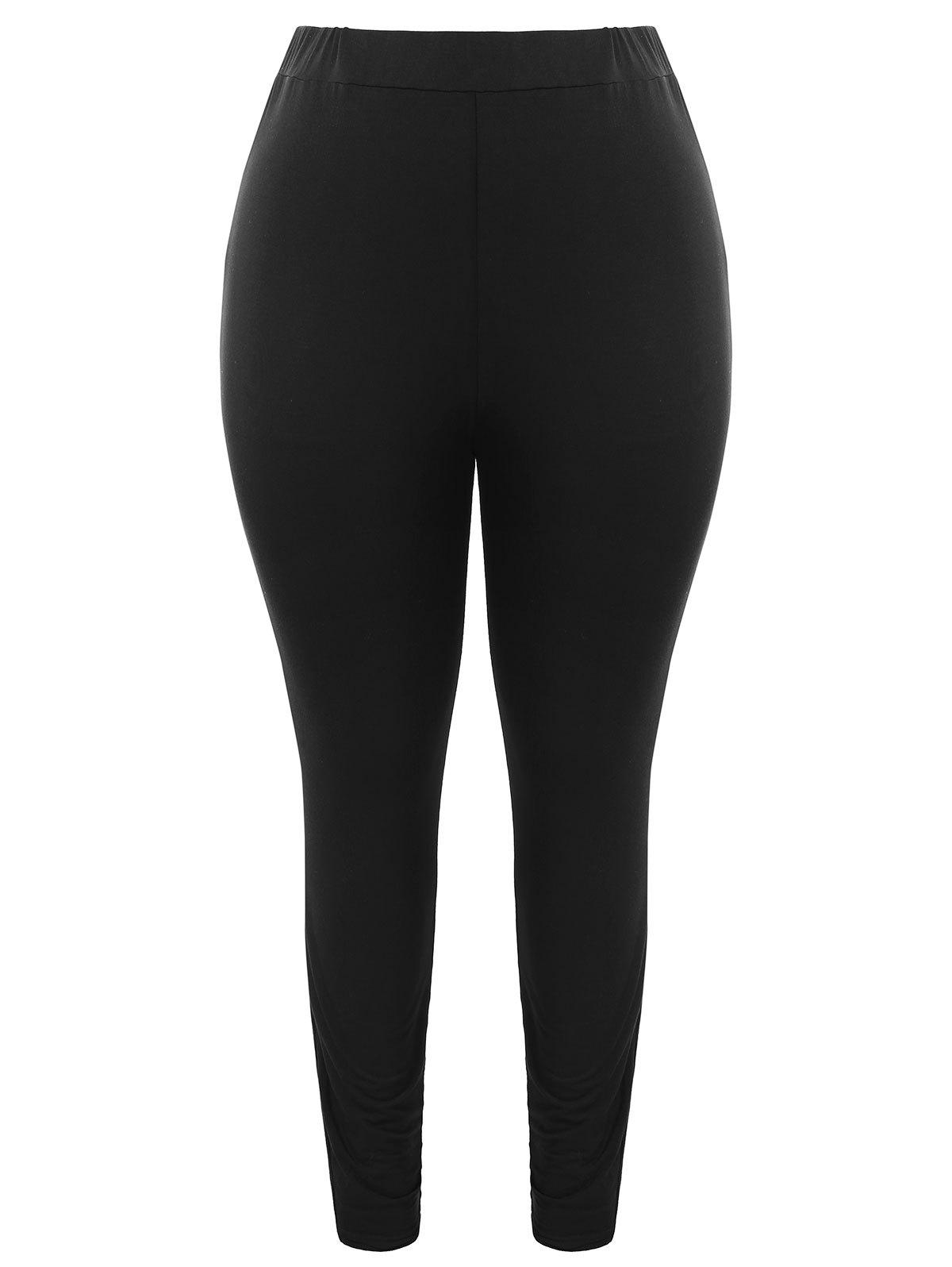 Cheap Plus Size Lace Insert Leggings