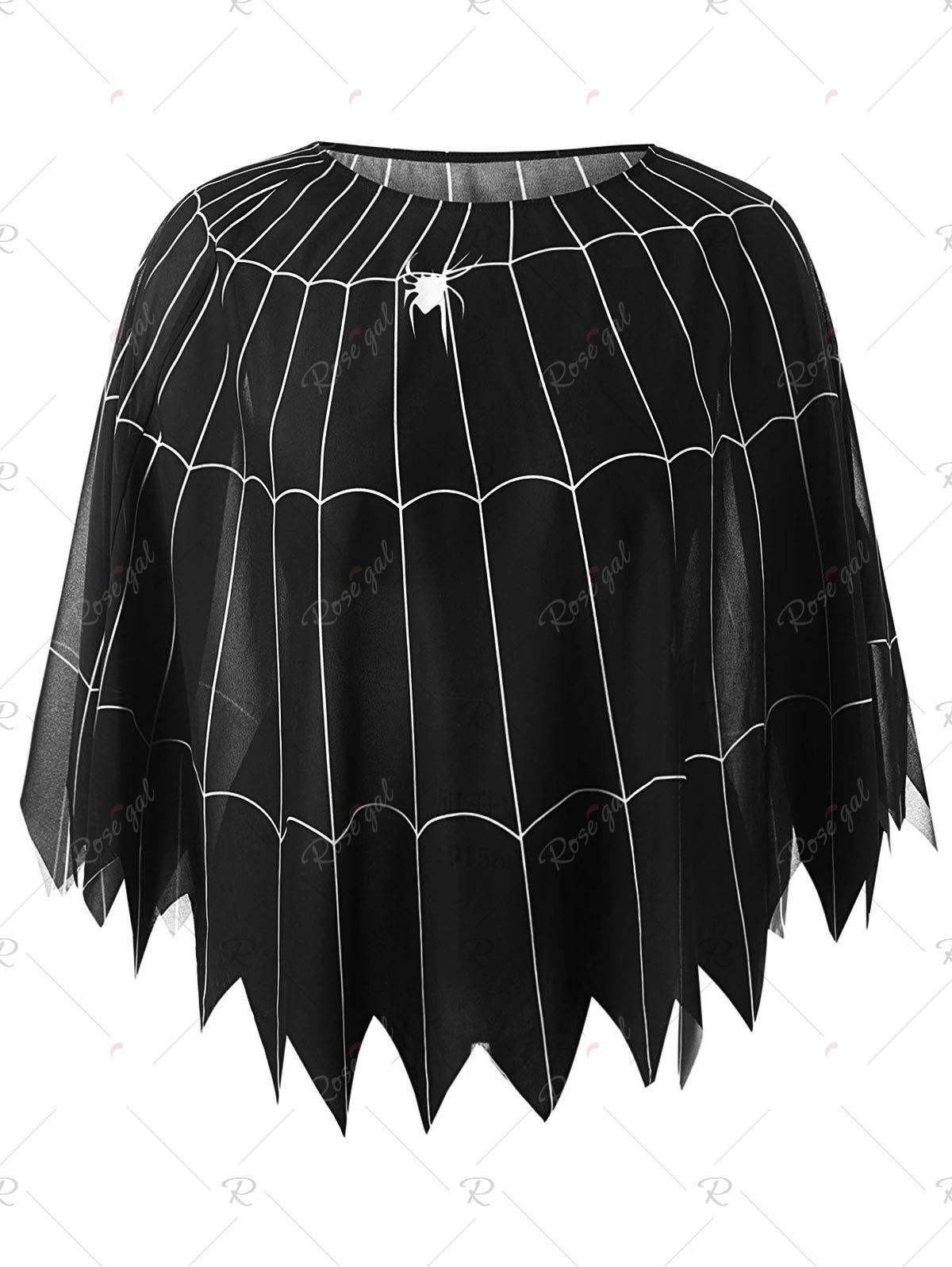 Store Halloween Plus Size Spider Web Poncho Blouse