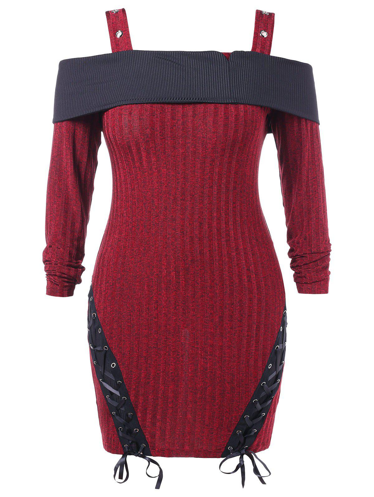 Fancy Plus Size Cold Shoulder Lace Up Knitted Bodycon Dress