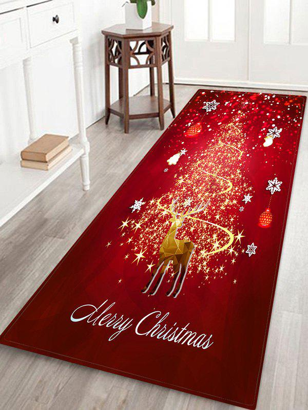 Affordable Christmas Snowflake Deer Printed Decorative Flannel Floor Mat