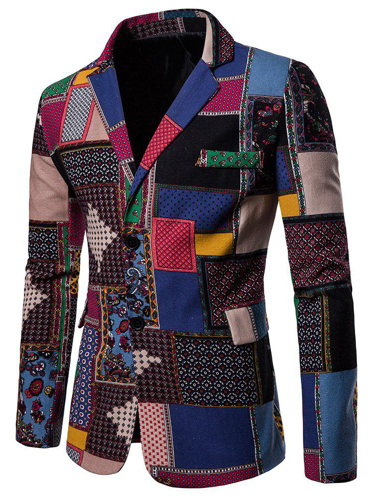 Store Split Back Colorful Printed Blazer