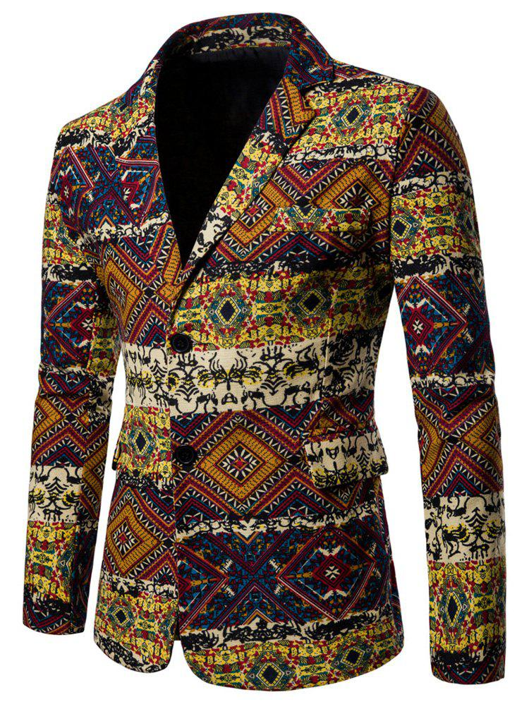 Hot Vintage Ethnic Printed Pockets Blazer