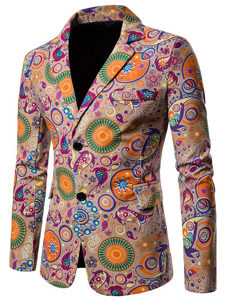 Fancy Ethnic Style Print Split Back Hem Blazer