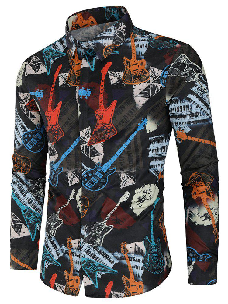 Cheap Musical Instrument Print Long Sleeve Shirt