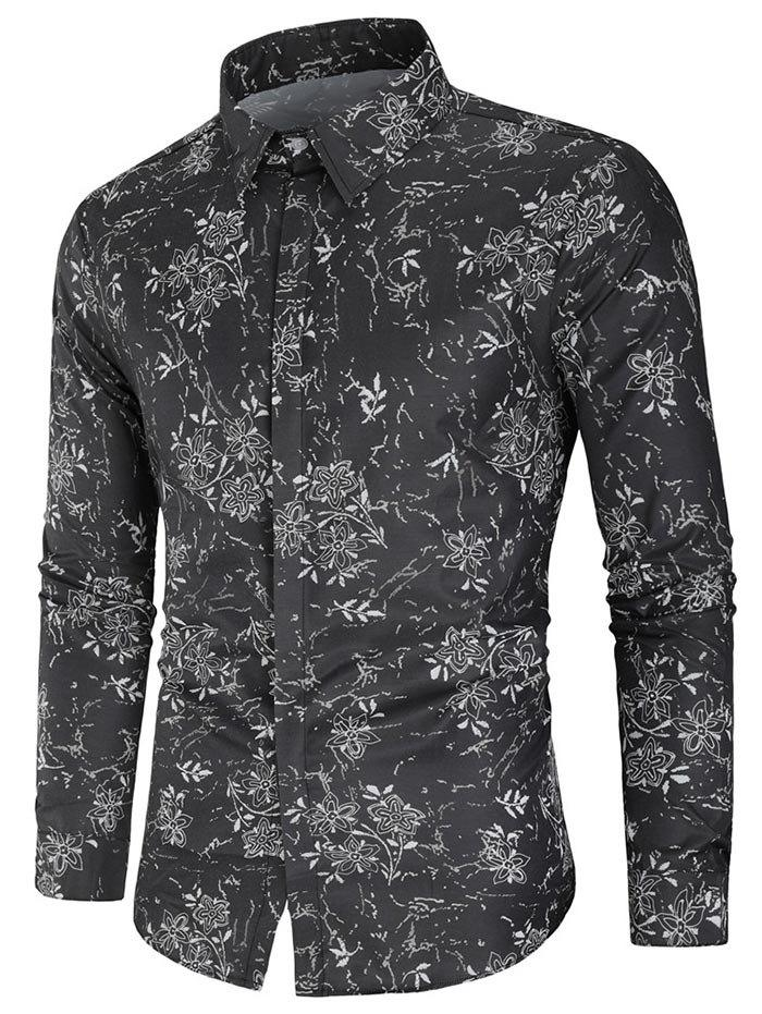 Discount Flower Print Button Up Shirt