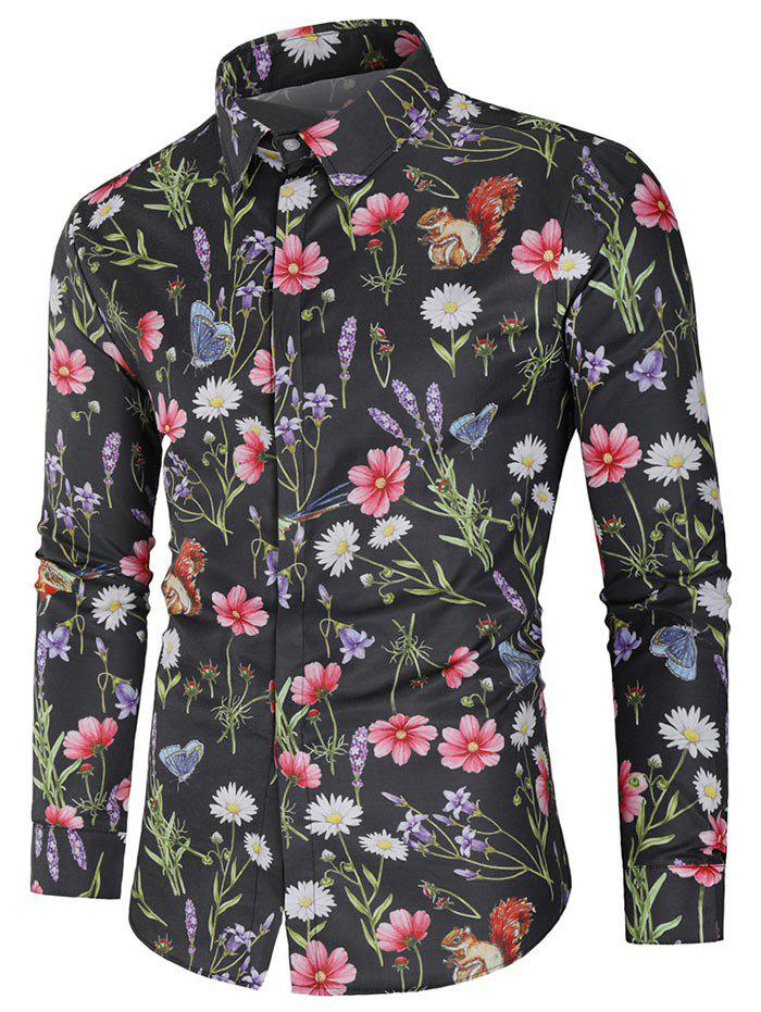 New Flower and Butterfly Print Long Sleeve Shirt