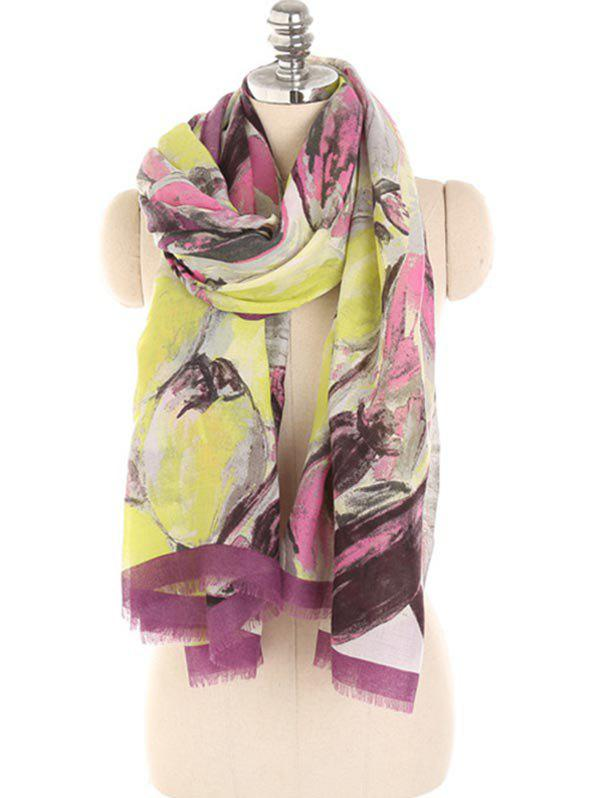 Chic Painting Floral Pattern Fringed Shawl Scarf