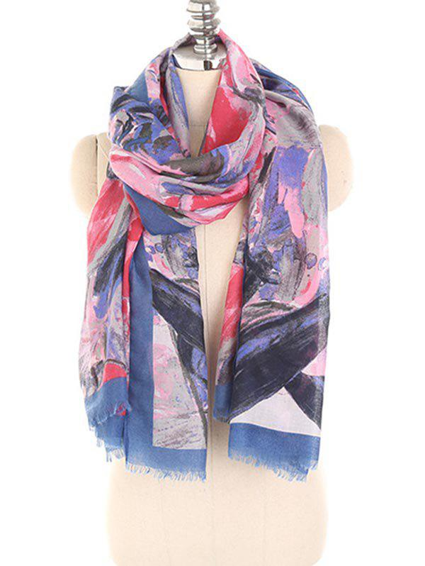 Latest Painting Floral Pattern Fringed Shawl Scarf