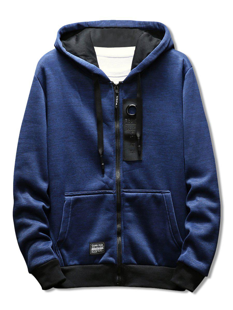 Chic Casual Zipper Placket Rectangle Panel Embellished Hoodie