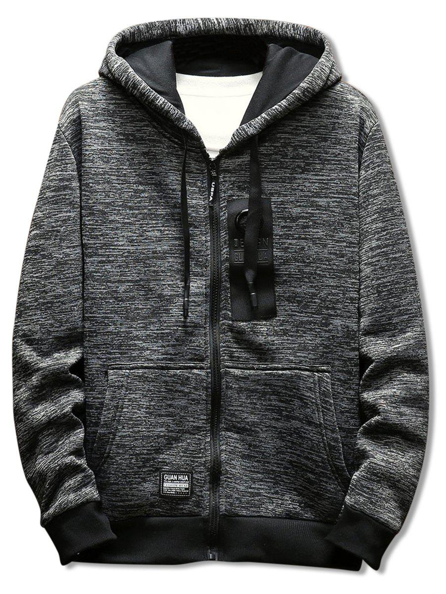 Store Casual Zipper Placket Rectangle Panel Embellished Hoodie