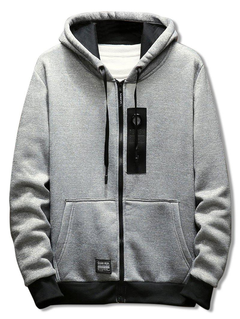 Affordable Casual Zipper Placket Rectangle Panel Embellished Hoodie