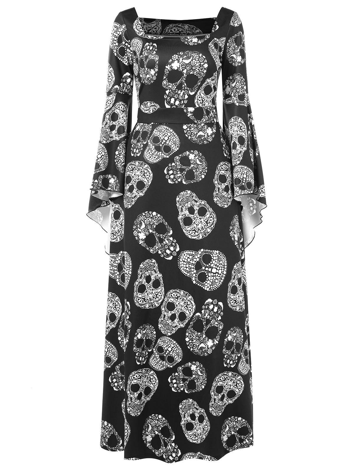 Chic Halloween Skulls Print Long Sleeve Maxi Dress