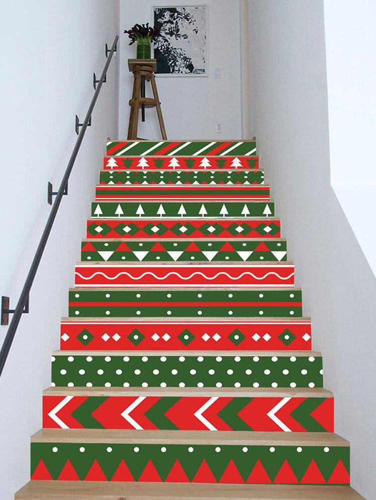 Latest Christmas Color Block Removable Stair Stickers