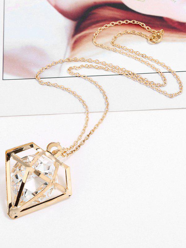 Fancy Rhinestone Hollow Geometric Shape Pendant Chain Necklace