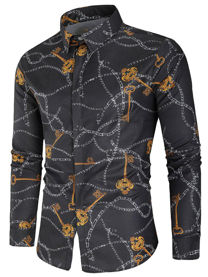 Affordable Key and Chain Print Button Up Shirt