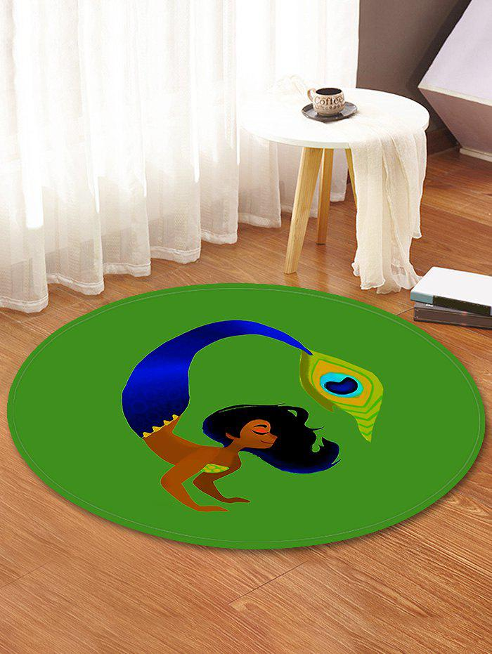Shop Woman Feather Printed Decorative Round Floor Rug
