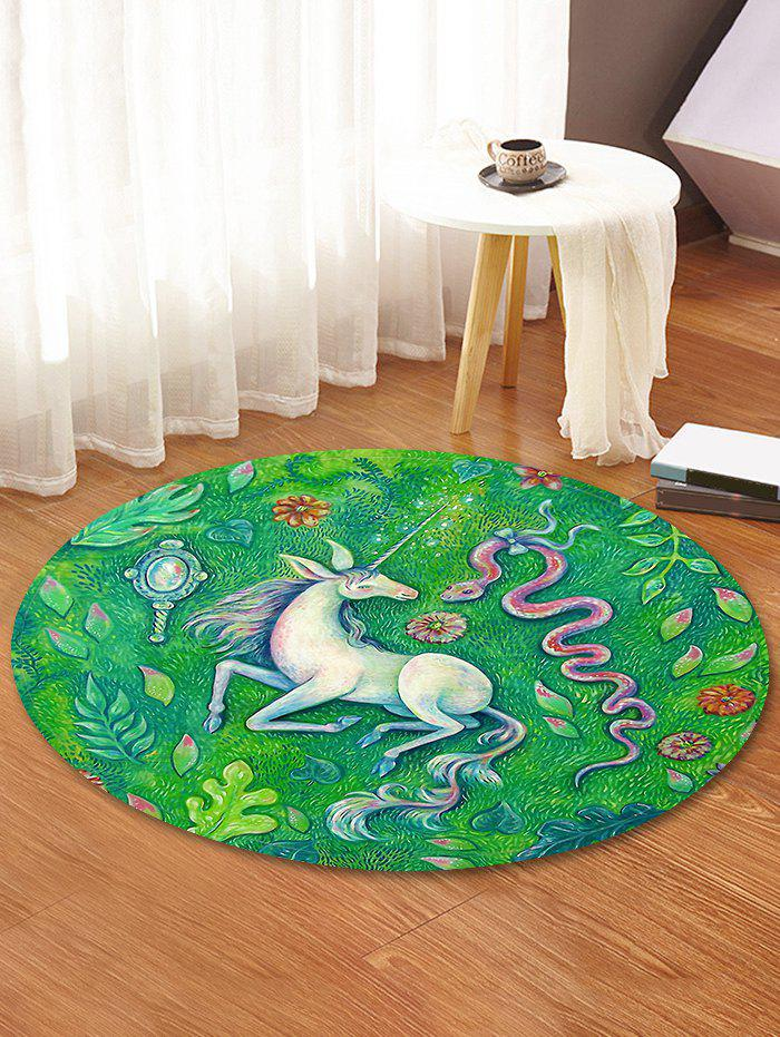 Affordable Unicorn Snake Printed Decorative Round Floor Rug