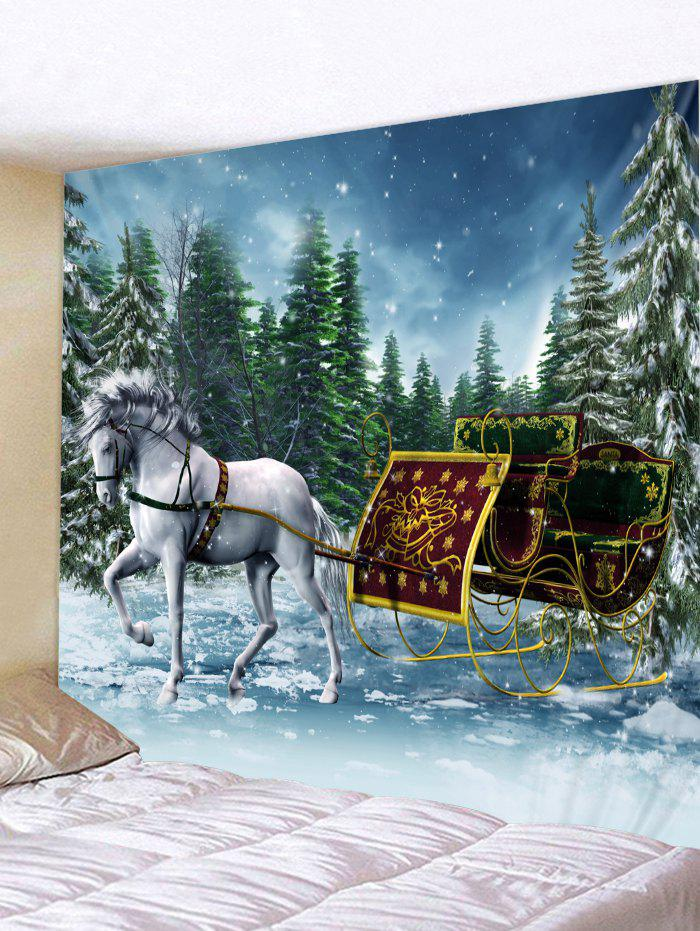 Trendy Christmas Sleigh Print Wall Tapestry Art Decoration
