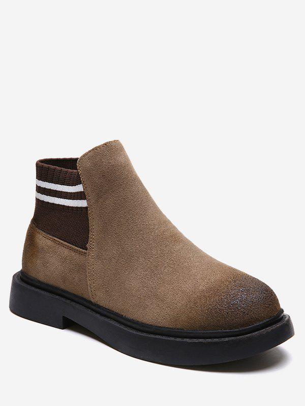 Discount Low Heel Suede Short Chelsea Boots