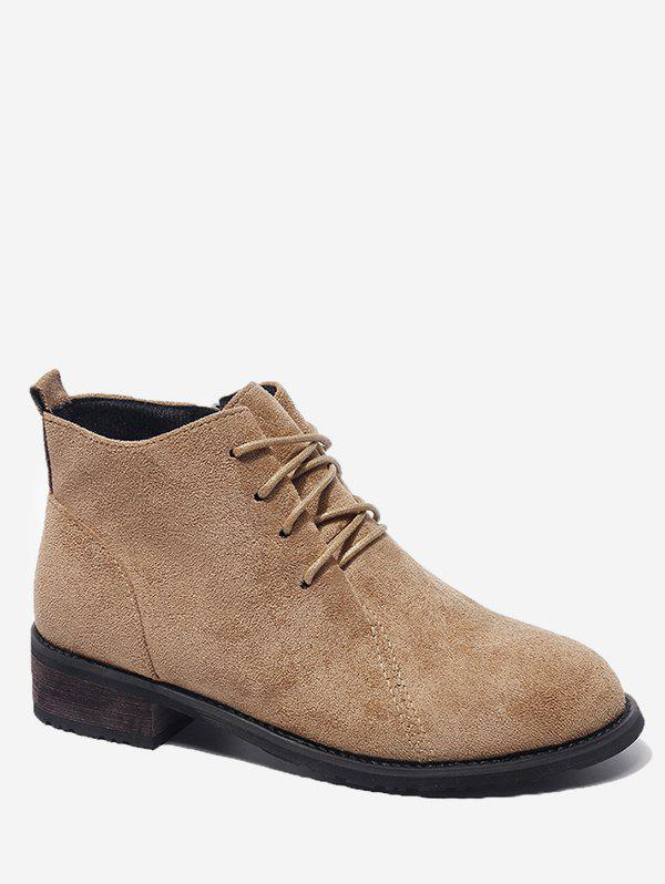 Store Tie Up Low Heel Suede Short Boots