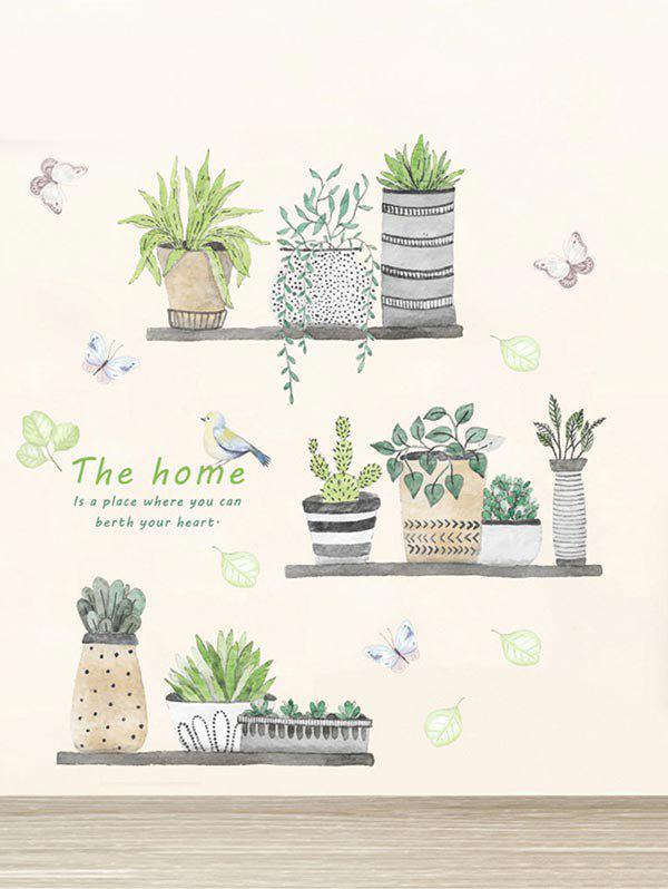 Fashion Bird Plant Potting Removable Wall Sticker