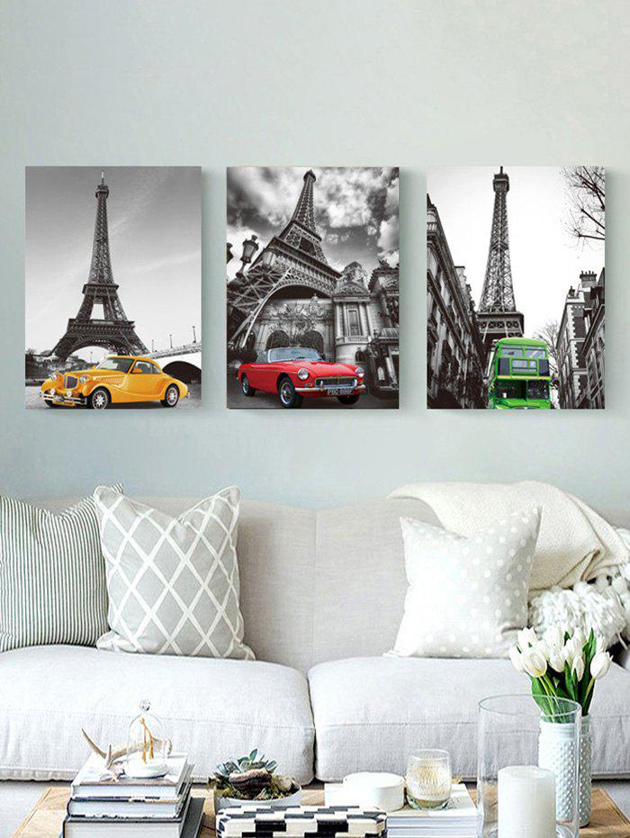 Fancy Eiffel Tower Car Print Unframed Split Canvas Paintings