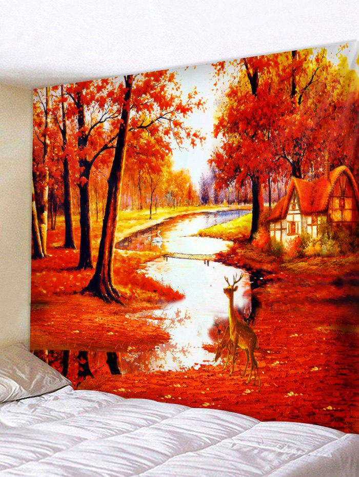 Outfits Maple Forest Deer Print Wall Tapestry Art Decoration