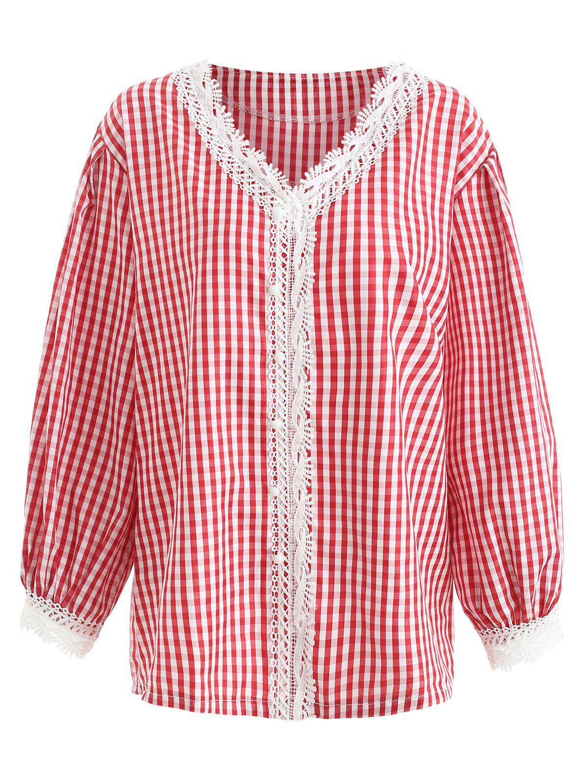 Outfits Lace Panel Plus Size Gingham Shirt