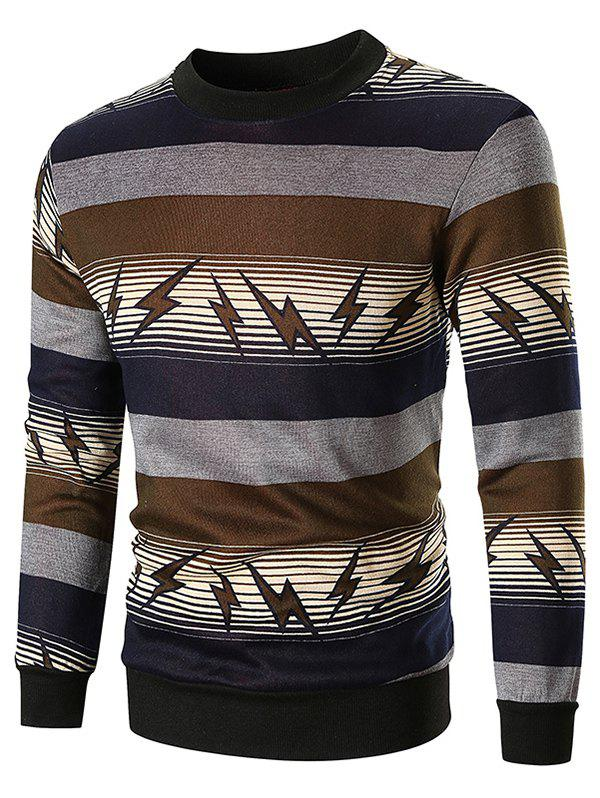 Affordable Striped and Lightning Print Sweatshirt
