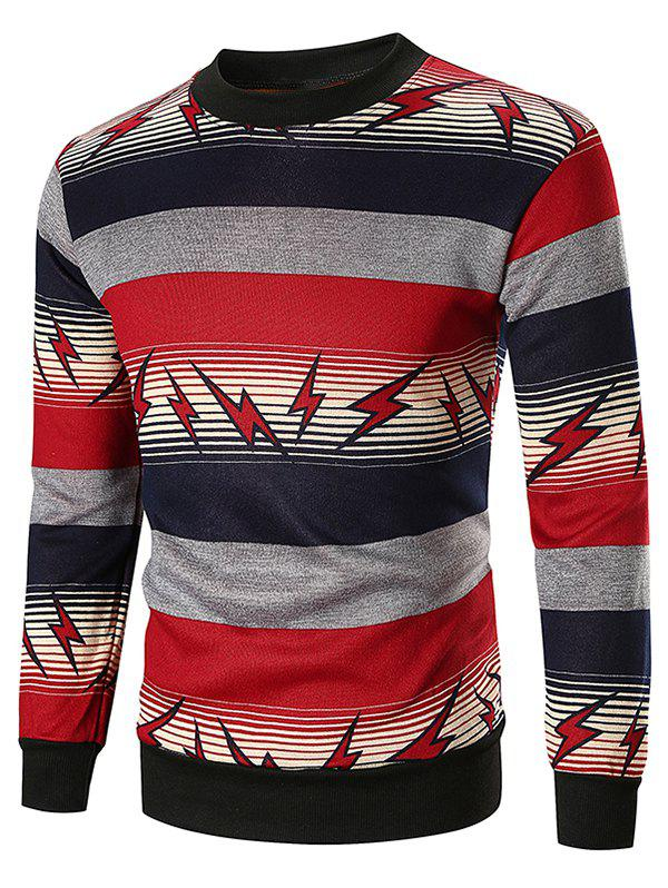 Latest Striped and Lightning Print Sweatshirt